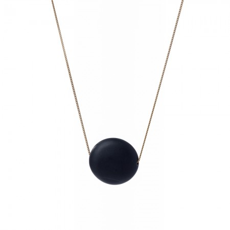 Black Flat Lava Sphere Necklace